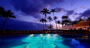 Night Pool Photo Halekulani Hotel