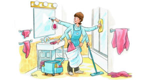 How to avoid cross contaminating clean linens lodging Housekeeping bathroom cleaning procedure
