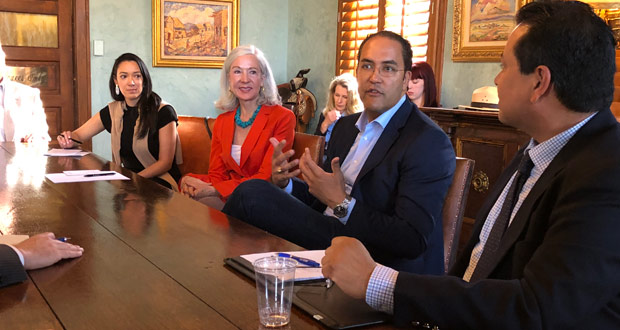 Rep. Will Hurd (R-TX 23) participates in a roundtable discussion with local hoteliers and employees at the Gage Hotel in Marathon, Texas.