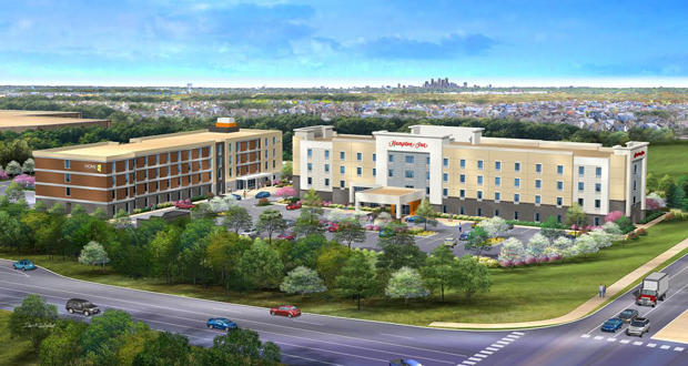 A rendering of Midas Hospitality's new Hampton Inn and Home2 Suites, Brooklyn Park, Minnesota