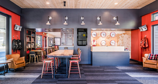 Mountain Modern Hotel Lobby in Jackson, Wyoming revives the motel concept