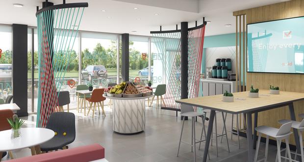 avid hotels' breakfast space