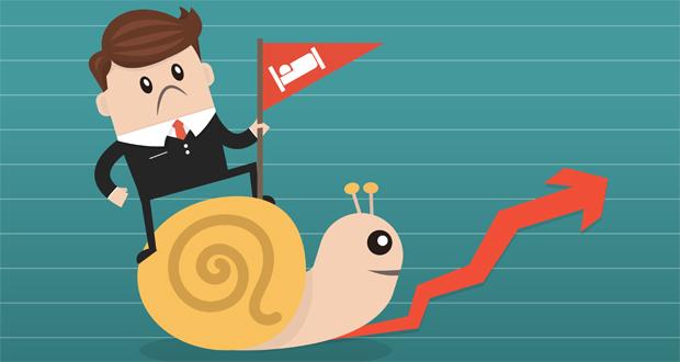 Businessman riding Snail slowly walk on arrow growth, performance, slowdown