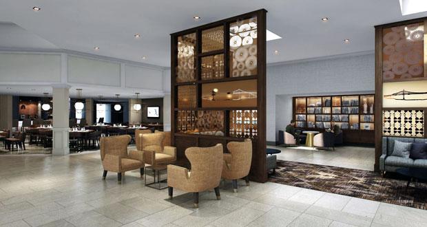 Sheraton Portland Airport hotel lobby