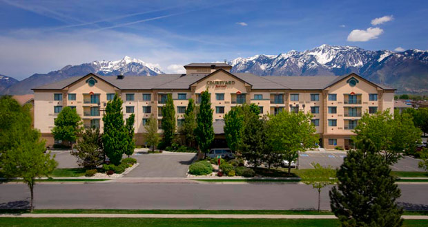Before the exterior redesign of the Courtyard by Marriott in Sandy, Utah