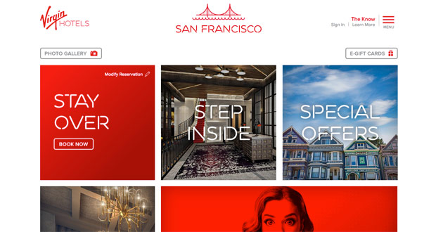Virgin Hotels Website