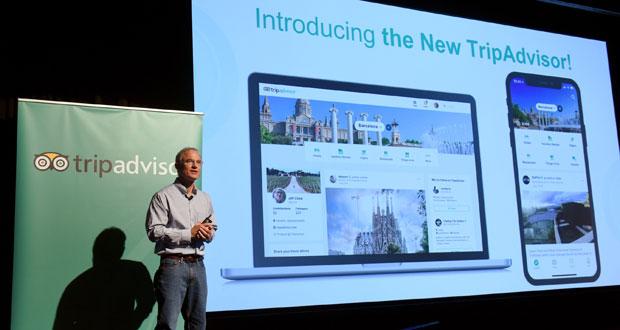Steve Kaufer, CEO, introduced the new TripAdvisor travel feed on Sept. 17, 2018 in New York City.