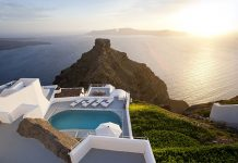 'The Villa' Private Pool Terrace View at Grace Hotel Santorini, Auberge Resorts Collection