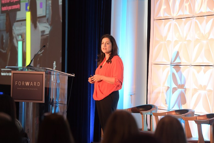 Reshma Saujani, founder and CEO of Girls Who Code, speaking at ForWard. (Photo courtesy of AHLA)