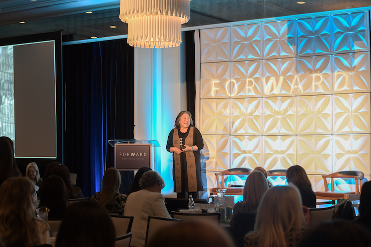 Tina Tchen, partner at Buckley Sandler and co-founder of Time's Up Legal Defense Fund, speaking at ForWard. (Photo courtesy of AHLA)