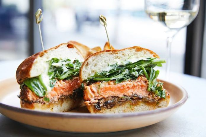 Outlier's Togarashi-Crusted Salmon Sandwich (Photo Credit: Aubrie Pick)