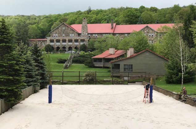 The site of Mountain Lake Lodge's tennis courts is now a volley ball court.