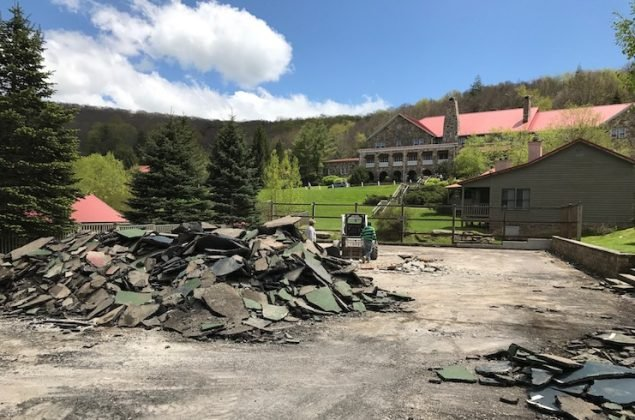 Mountain Lake Lodge's tennis courts during the renovation