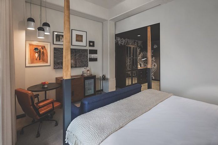 A guestroom at Crossroads Hotel showcases Kansas City artists.