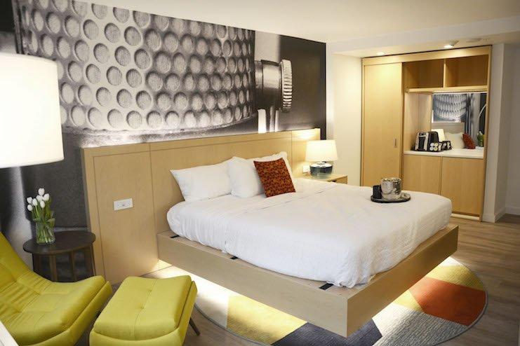 A guestroom at Hotel Indigo Memphis Downtown.