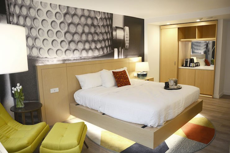 A guestroom at Hotel Indigo Memphis Downtown.