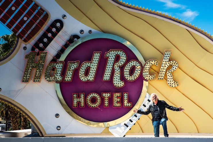 Virgin Group founder Sir Richard Branson stands outside Hard Rock Hotel & Casino Las Vegas during the announcement in April 2018 that the property would become Virgin Hotel Las Vegas.