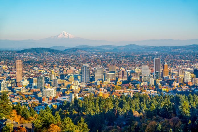 City of Portland, Oregon, and Mount Hood in Autumn