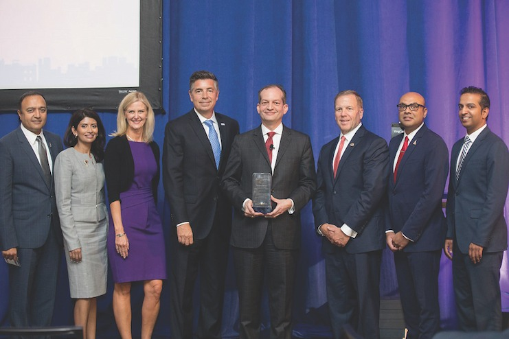 AHLA and AAHOA leadership with U.S. Secretary of Labor Alexander Acosta at the 2018 Legislative Action Summit in Washington, D.C.