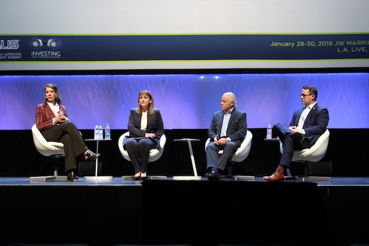 From the left, Caroline Beteta, President & CEO, Visit California; Gloria R. Guevara Manzo, President & CEO, World Travel & Tourism Council; Roger Dow, President & CEO, U.S. Travel Association; and Brian Crawford, SVP Government Affairs, American Hotel & Lodging Association discuss travel and tourism at ALIS.