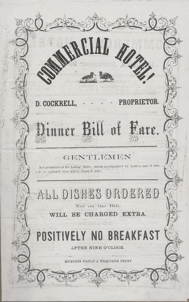 In the past, female travelers even had separate dining menus than men.