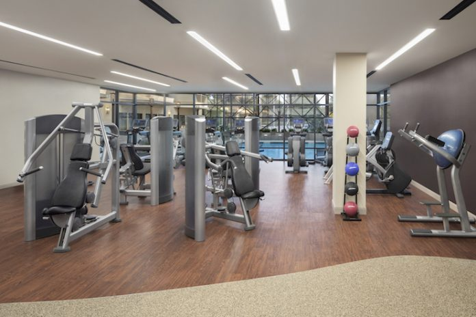 Fitness is front-and-center in the reimagined DoubleTree by Hilton Hotel Newark Airport. (Photo: Villano Photo, courtesy of LEO A DALY)