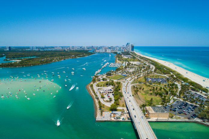 Aerial drone image of Miami Beach