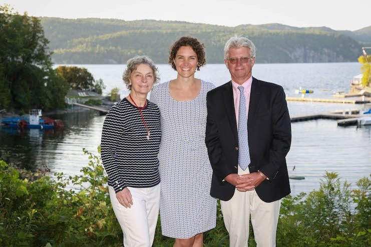 Fourth and fifth generation hosts of Basin Harbor (from left): Pennie Beach, Sarah Morris, and Bob Beach