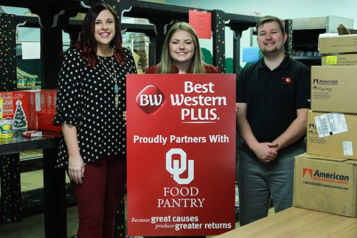(From left) Linsey Kennedy, GM of Best Western Plus Norman, Lyssa Murray, former Front Office Manager of Best Western Plus Norman and now GM at Best Western Plus West Lawrence, and Matt Marks, Graduate Director of OU Food Bank