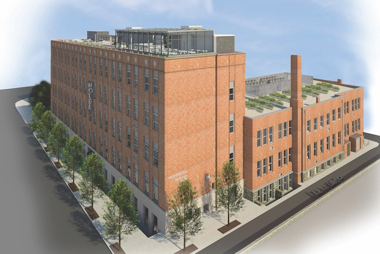 """A rendering of the TRYP by Wyndham Pittsburgh Lawrenceville, a former trade school building in an area that Money magazine called """"America's Coolest Neighborhood."""""""