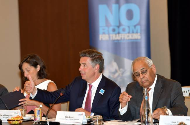 AHLAPresident and CEO Chip Rogers is joined by dozens of stakeholders and industry partners to launch the 'No Room for Trafficking' campaign.