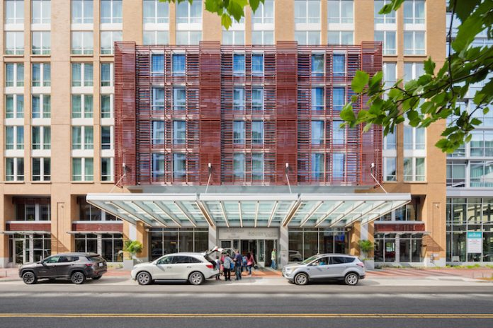 The dual-branded Courtyard by Marriott and Residence Inn at Columbia Place (Courtesy of COOPER CARRY)