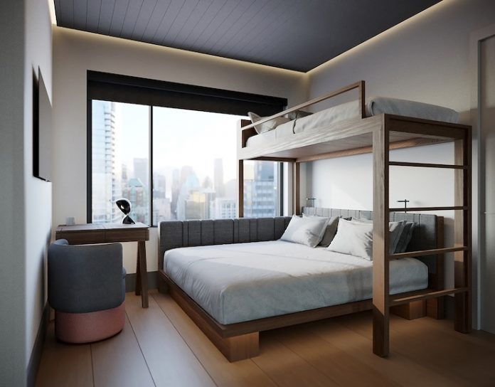 A rendering of Motto by Hilton's bunkbed room design