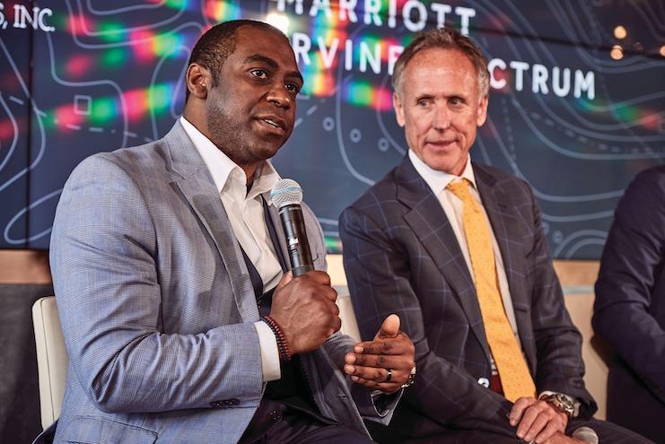 Julius Robinson speaks at the opening of the Marriott Irvine Spectrum.