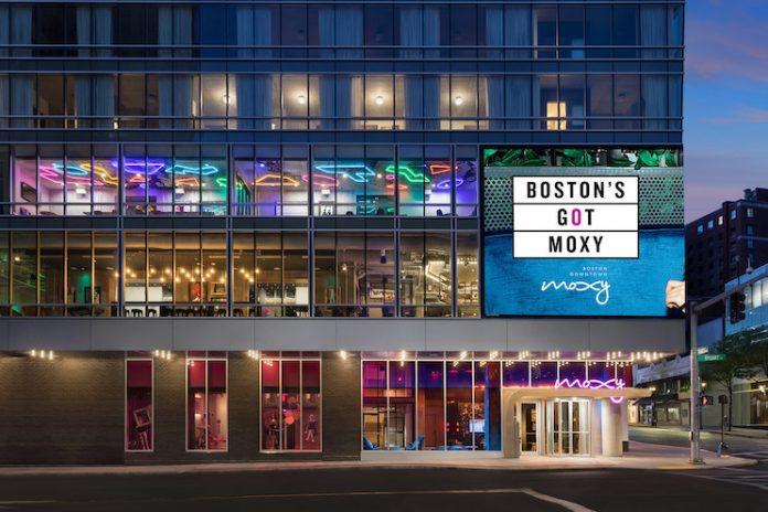 Exterior of Moxy Boston Downtown.