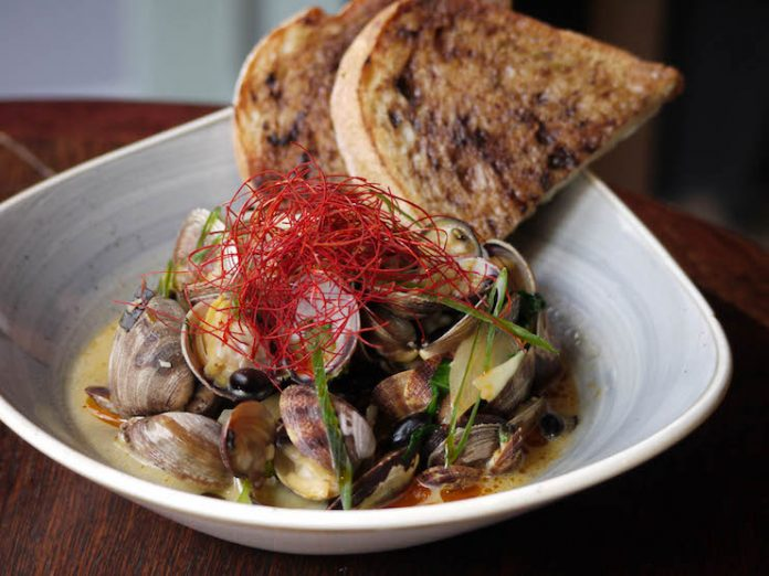 Spicy Miso Clams at Bookstore Bar & Cafe in Seattle