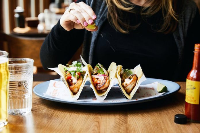Tacos with Mexian Togarashi at King Tide Fish & Shell in Portland, Oregon