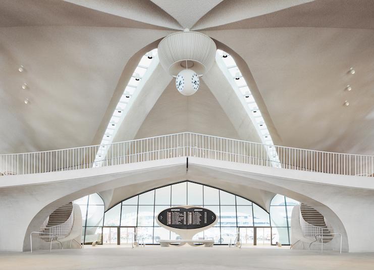 Eero Saarinen's soaring terminal serves as the heart of the TWA Hotel.