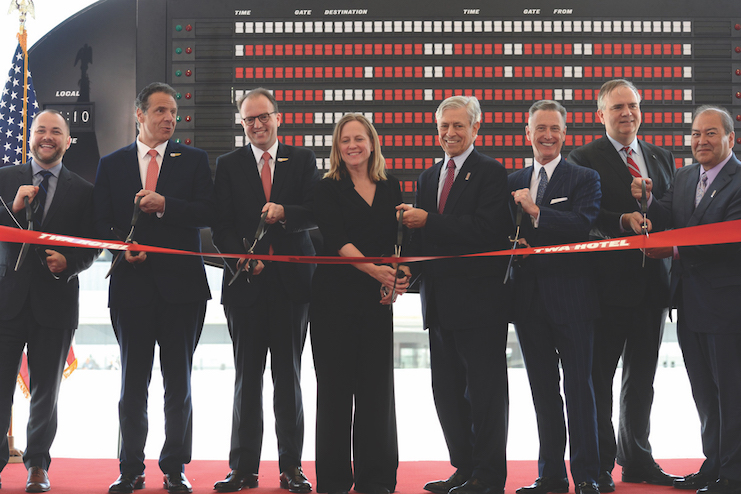 Morse (third from left) at the TWA Hotel's ribbon cutting.