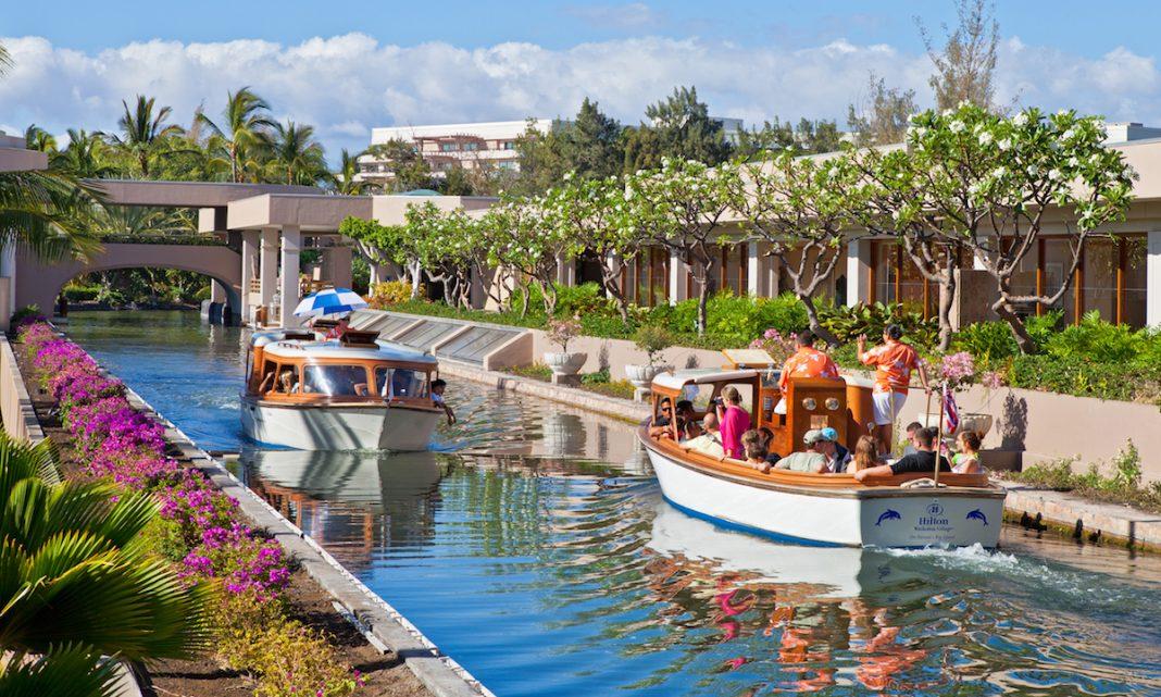 Electric canal boats at Hilton Waikoloa, Big Island, Hawaii - Hilton sustainability goals