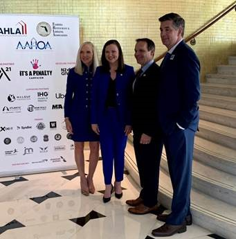 AHLA Human Trafficking Campaign - (Left to right) Florida Restaurant & Lodging Association President and CEO Carol Dover, Attorney General Ashley Moody, Miami Super Bowl Host Committee Executive Director Ray Martinez, and AHLA President and CEO Chip Rogers