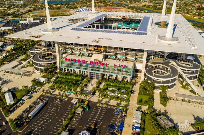 Miami, FL, USA - January 25, 2020: Aerial photo Miami Hard rock Stadium hosting 2020 Super Bowl LIV - high-profile events
