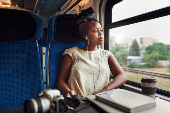woman on train - sustainable travel