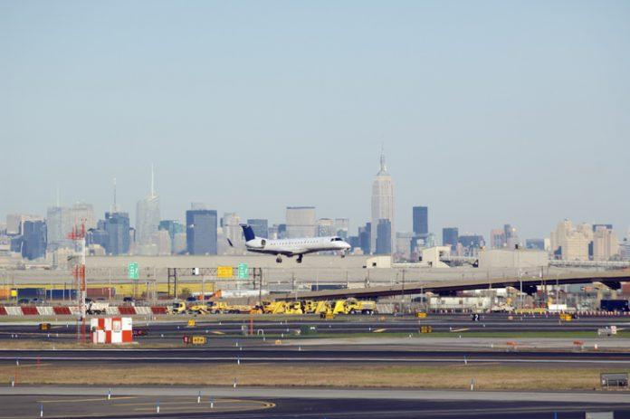 Airplane landing at Newark Airport, New Jersey