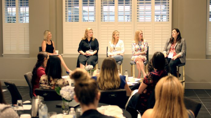 HEI Hotels & Resorts' first Women in Leadership Council meeting in 2018 at Le Meridien Dallas, The Stoneleigh. (From left) Rachel Moniz, EVP of Operations, HEI Hotels & Resorts; Ginger Martin, GM of Le Meridien Dallas the Stoneleigh; Marina Dutton, GM of Costa Mesa Marriott;Kathryn Johnson, GM of The Hotel at Avalon; and Julie Yeung, VP of Talent and Performance, HEI Hotels & Resorts.