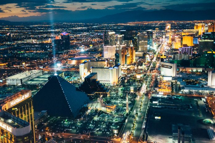 Las Vegas, Nevada, USA - July 2017: Aerial view of Las Vegas Skyline at Dusk