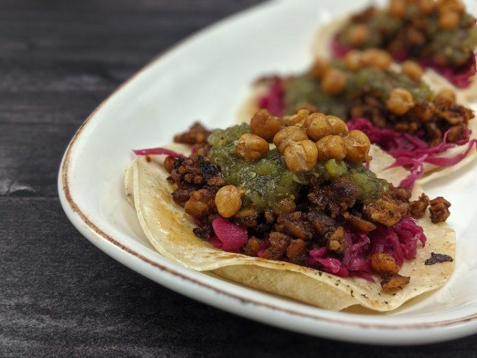Vegan Chorizo Tacos at Centennial, Hyatt Regency Dallas's marquee restaurant.
