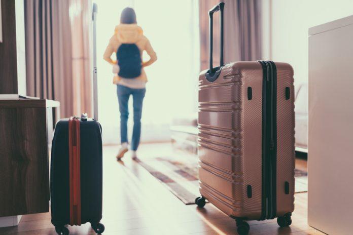 Guest/traveler in a guestroom