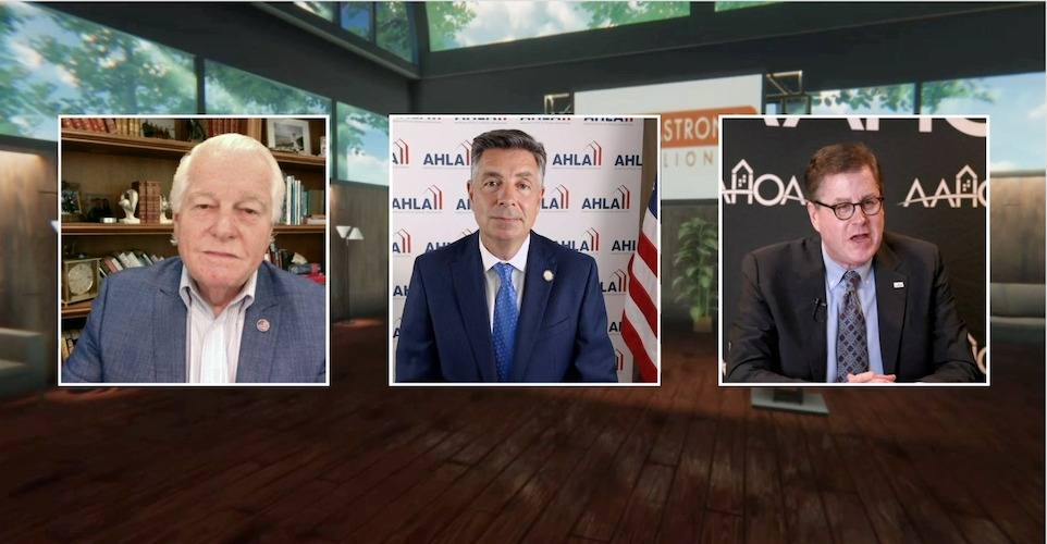Roger Dow, president and CEO of the U.S. Travel Association, Chip Rogers, president and CEO of AHLA, and Cecil P. Staton, president and CEO of AAHOA, discuss COVID-19 relief efforts and more at AAHOACON 2020.