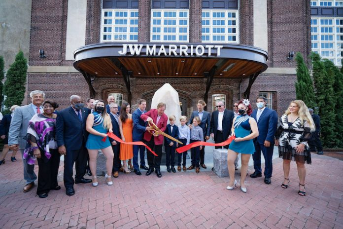 Plant Riverside District ribbon cutting in front of the JW Marriott Savannah